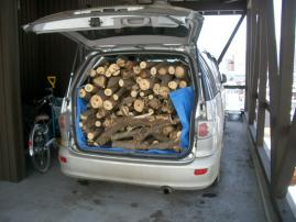 間伐木で荷室がぱんぱん