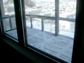3月22日ベランダの雪