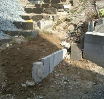 石階段横のよう壁-ほぼ完成