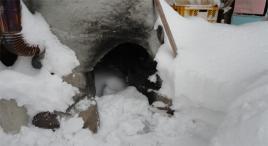 露天風呂火室の中にもしっかり雪が
