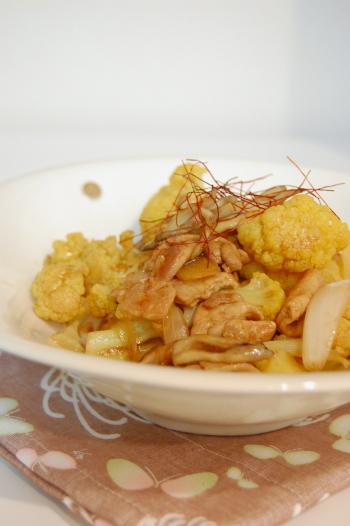 豚肉とカリフラワーの中華炒め