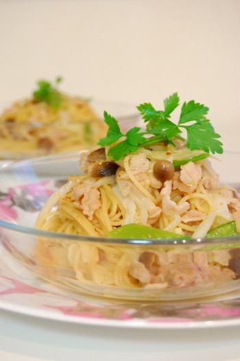 白菜と豚肉のバター醤油パスタ