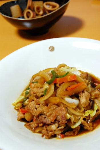 生姜焼き と イカと大根の煮物