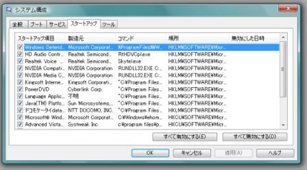 msconfigの画面