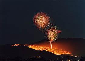 平城宮跡から見る山焼き