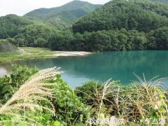 秋の気配ダム湖.