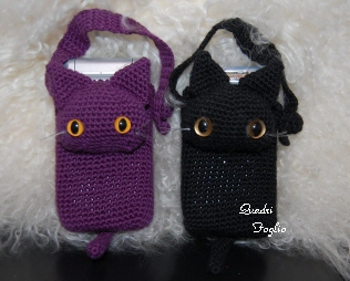 にゃんこ携帯ケース 黒&紫 完成