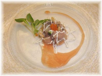 2)房州産鯵のタルタル さっぱりトマトのガスパッチョ仕立て