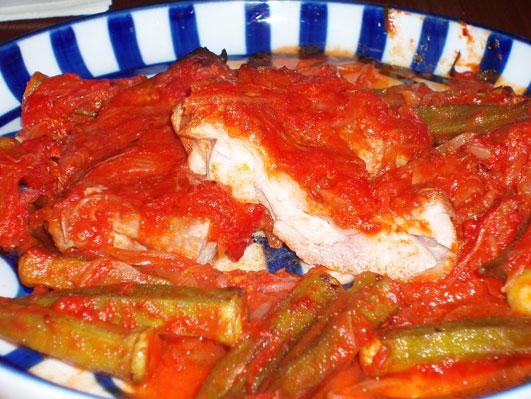 チキンとオクラのオーブン焼き