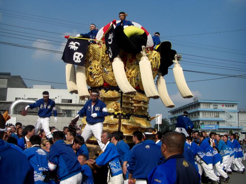 新居浜太鼓祭り 川西 工場前かきくらべ 新田太鼓台