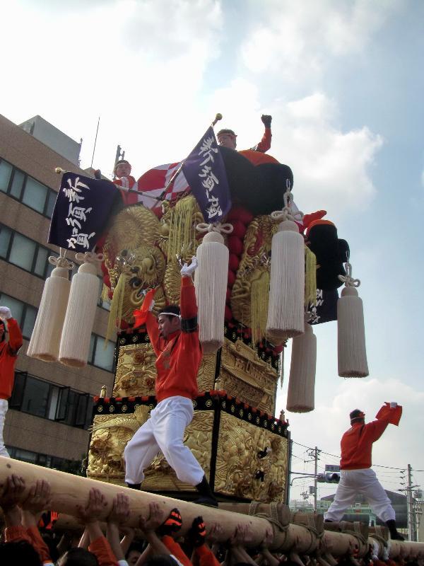 新居浜太鼓祭り 川西 工場前かきくらべ 新須賀太鼓台