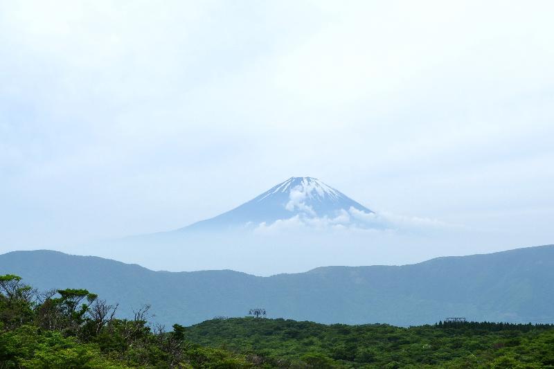大涌谷 富士山の風景