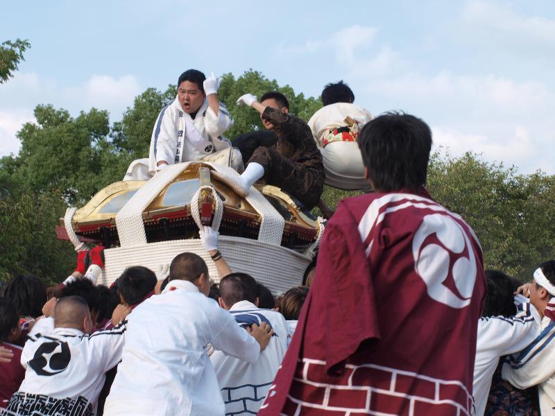 石手川緑地で神輿鉢合わせ