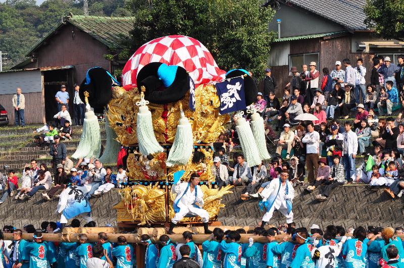 西条祭り 渦井川原かきくらべ 飯岡本郷太鼓台