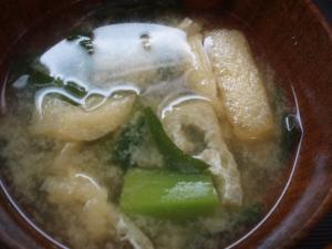 小松菜と油あげの味噌汁