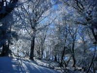 19 大普賢の下りにて霧氷と陽光
