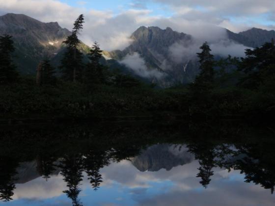 59鏡池の夕暮れⅡ、穂高岳