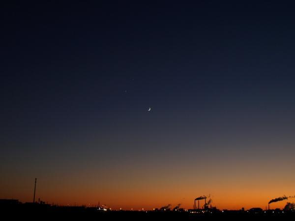いつもの河川敷で、月・金星・木星