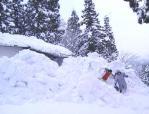 雪に埋もれた棚田の母屋