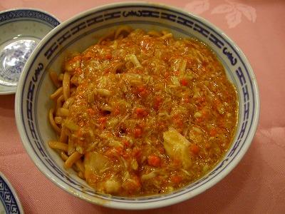 上海蟹の卵肉かきまぜ麺
