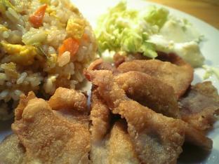 炒飯と豚ロースの唐揚げ002