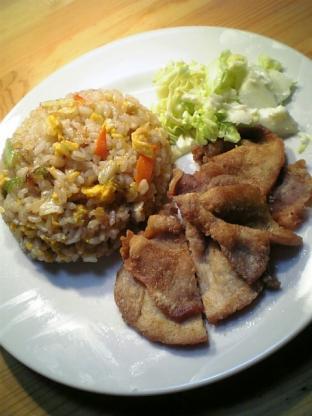 炒飯と豚ロースの唐揚げ003