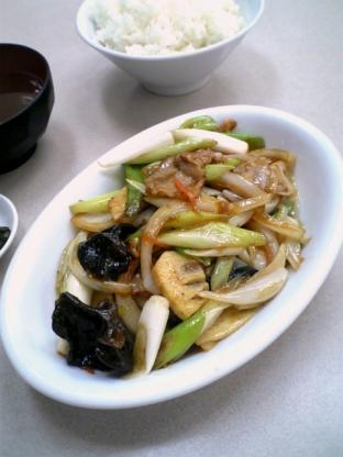 中華料理鶴廣でネギ肉イタメとライス003