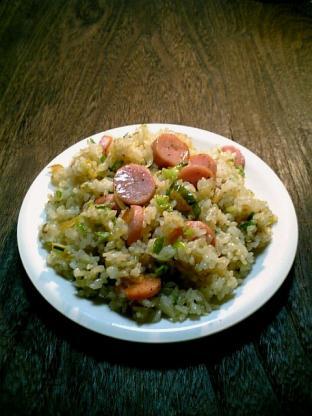 焼き飯(葱とスパイシーソーセージ)001