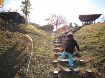 階段登る。