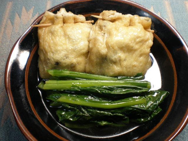 きのこ入り巾着と小松菜の煮びたし