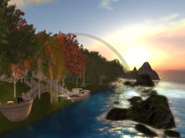 日の出と虹