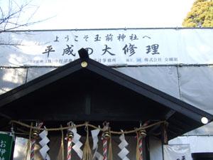 玉前神社の本殿(改修中)