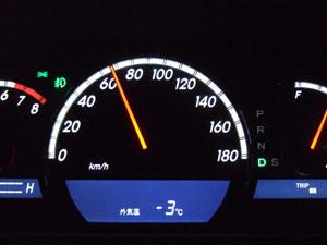 外気温は-3℃まで下がっていた