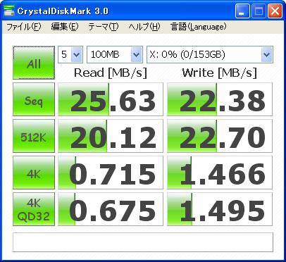 CrystalDiskMark 3.0 HDS722516VLSA80のベンチ結果(100MB)