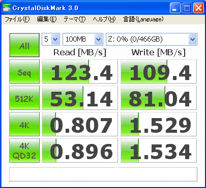 CrystalDiskMark 3.0 ST3500418ASのベンチ結果(100MB)