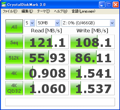 CrystalDiskMark 3.0 ST3500418ASのベンチ結果(50MB)
