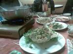 三重の鶏スープと魚のから揚げ