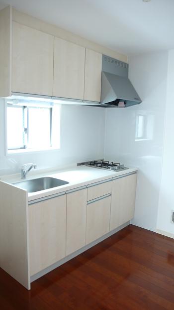 キッチンはガス2口コンロ付のオシャレなシステムキッチンです。パネルもお掃除し易いフラットなキッチンパネルでいつでも清潔ピカピカを保てます!!収納力も豊富です!!