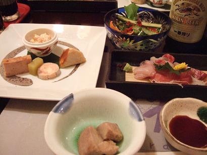 おやじのテーブル(先付前菜 ・お刺身盛合せ ・季節野菜のサラダ)