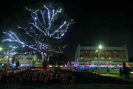 ライトアップされた県民文化センター