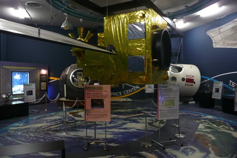 ロシアのソユーズ帰還カプセルの展示
