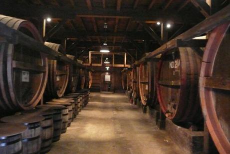 1階のワイン樽の展示