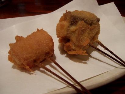 串揚げのマグロのチーズ巻・もちベーコン