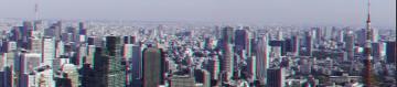 アナグリフ 東京タワーとスカイツリー