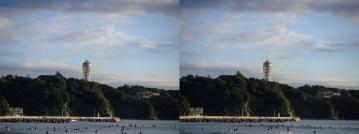 夕日を浴びる展望台