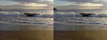 波を低い位置正面から