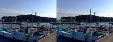 漁船と江ノ島2