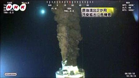 NHKニュース画像より 原油流出2ヵ月 汚染拡大に危機感