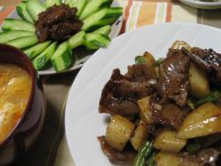 牛肉と長芋のオイスターソース炒め