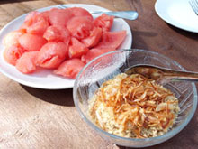 watermelon w/ fish flakes
